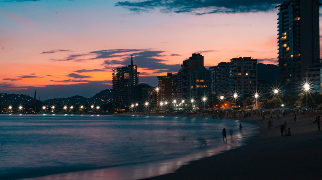 acapulco ciudad noche playa